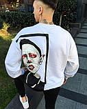 Мужской свитшот с шикарным принтом белый, фото 2