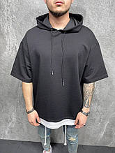 Чоловіча футболка з капюшоном, трикотаж, чорна