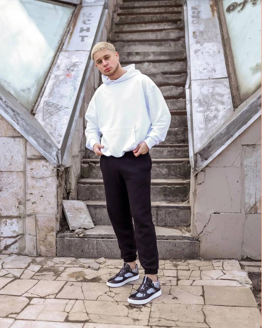 Мужской спортивный костюм худи+штаны бело черный