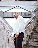 Мужской спортивный костюм худи+штаны бело черный, фото 4