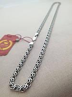 Цепочка серебряная 925 пробы Двойной ручей покрытая чернью.