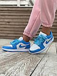 Женские кроссовки Air Jordan 1 Low голубые с белым, фото 2