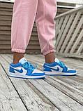 Женские кроссовки Air Jordan 1 Low голубые с белым, фото 4