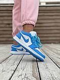 Женские кроссовки Air Jordan 1 Low голубые с белым, фото 5
