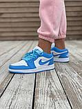 Женские кроссовки Air Jordan 1 Low голубые с белым, фото 6