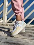 Женские кроссовки NIKE AIR FORCE SHADOW белые с бежевым, фото 4