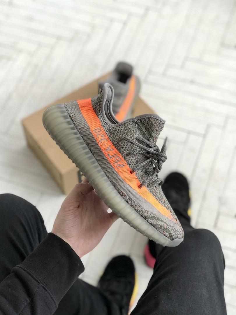 Чоловічі кросівки Adidas Yeezy 350 v2 сірі з помаранчевим