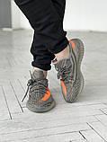Чоловічі кросівки Adidas Yeezy 350 v2 сірі з помаранчевим, фото 2
