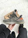 Чоловічі кросівки Adidas Yeezy 350 v2 сірі з помаранчевим, фото 6