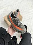Чоловічі кросівки Adidas Yeezy 350 v2 сірі з помаранчевим, фото 7