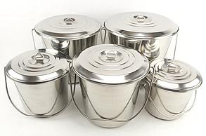 Набор ведер пищевых с крышками из нержавеющей стали A-PLUS 5 шт (0385)