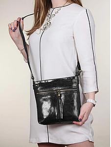 Жіноча чорна шкіряна сумка 24х16х1