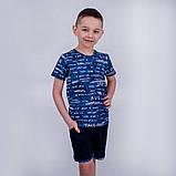 Летний детский костюм для мальчика (футболка и шорты) SmileTime Fun, синий, фото 3