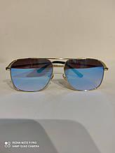 Очки солнцезащитные квадратные Авиаторы  синие зеркальные линзы , унисекс