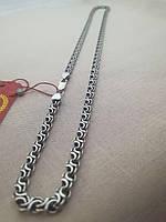 Цепочка серебряная 925 пробы Двойной ручей покрытая чернью