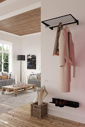 Поличка з вішалкою 606мм*406мм настінна BLACK Edition KOLCHUGA HOME (комплект, чорний), фото 2