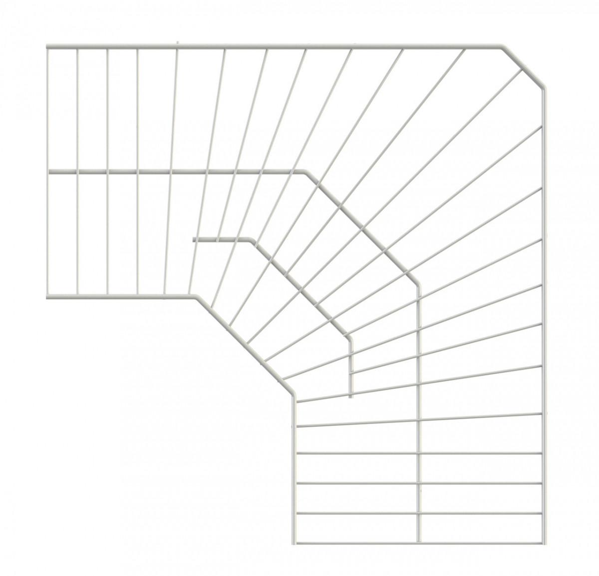 Полиця кутова дротяна 600*600*306 Кольчуга (консольна система зберігання, білий)