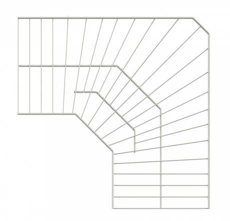 Полиця кутова дротяна 600*600*306 Кольчуга (консольна система зберігання, білий), фото 2