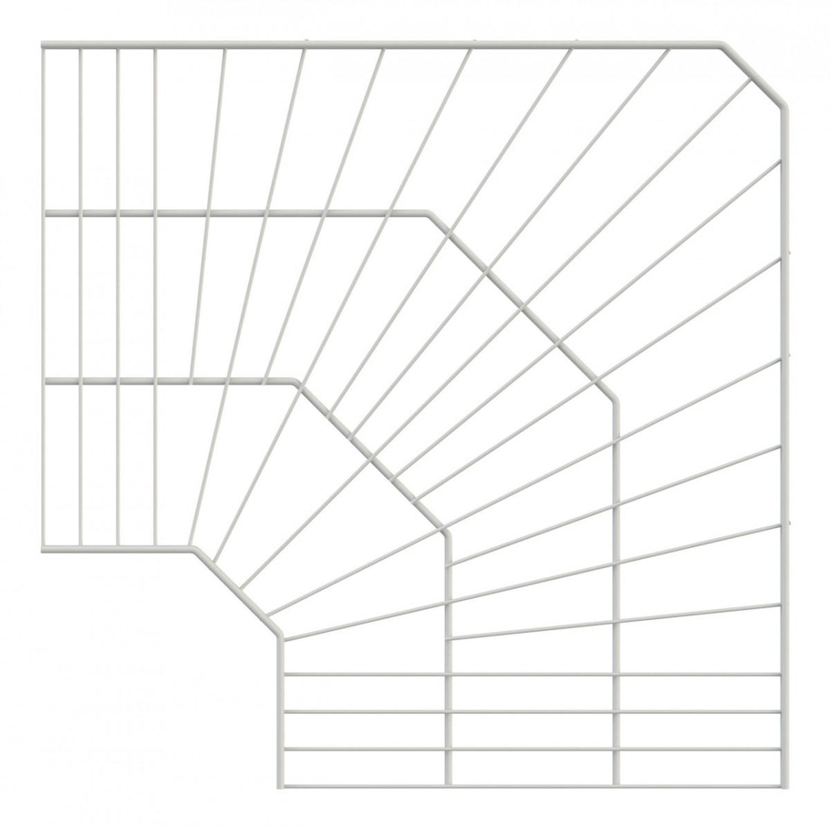 Полиця кутова дротяна 600*600*406 Кольчуга (консольна система зберігання, білий)