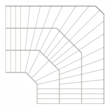 Полиця кутова дротяна 600*600*406 Кольчуга (консольна система зберігання, білий), фото 2