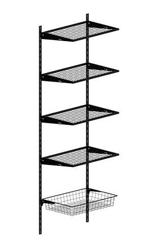 Стійка з подвійною перфорацією д.1000мм ш. 25мм KOLCHUGA HOME BLACK Edition (консольна система зберігання ), фото 2