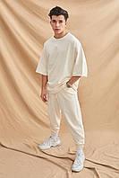 Оверсайз спорт костюм мужской чоловічий костюм білий штани+футболка модный костюм лето весна M