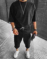 Oversize спортивный костюм мужской черный свободный модный футболка+штаны весна лето