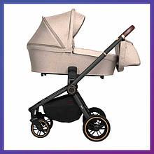 Детская универсальная коляска 3в1 с автокреслом CARRELLO Epica CRL-8511/1 бежевая с черной рамой + дождевик