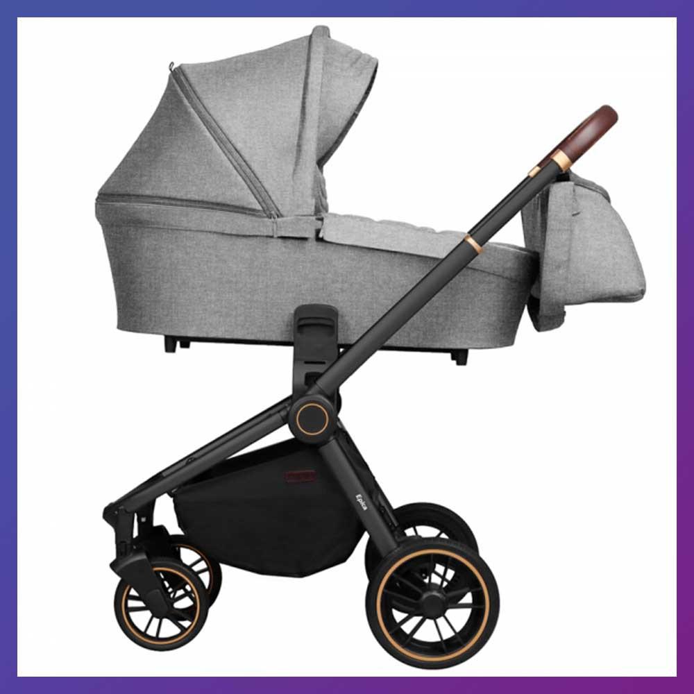 Детская универсальная коляска 3в1 с автокреслом CARRELLO Epica CRL-8511/1 серая с черной рамой + дождевик