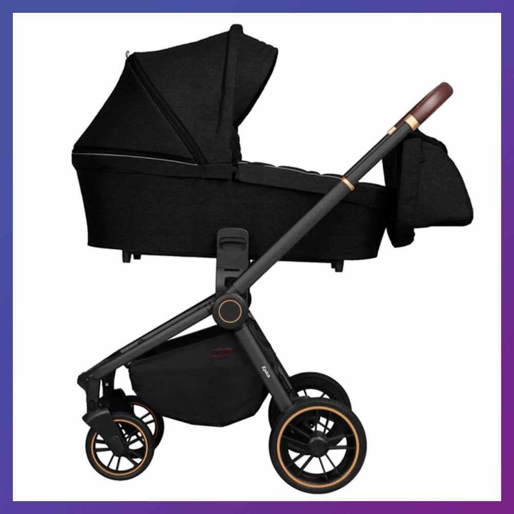 Детская универсальная коляска 3в1 с автокреслом CARRELLO Epica CRL-8511/1 черная с черной рамой + дождевик
