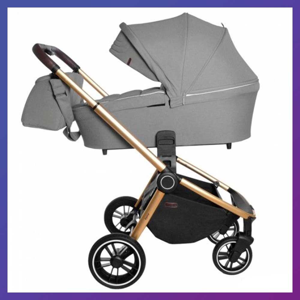 Детская универсальная коляска 3в1 с автокреслом CARRELLO Epica CRL-8511 серая с золотистой рамой + дождевик
