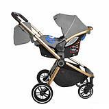 Детская универсальная коляска 3в1 с автокреслом CARRELLO Epica CRL-8511 серая с золотистой рамой + дождевик, фото 3