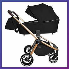 Детская универсальная коляска 3в1 с автокреслом CARRELLO Epica CRL-8511 черная с золотистой рамой + дождевик
