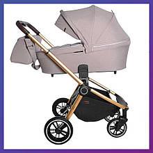 Детская универсальная коляска 3в1 с автокреслом CARRELLO Epica CRL-8511 бежевая с золотистой рамой + дождевик