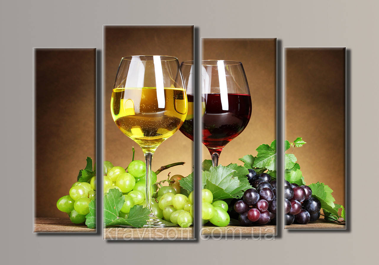 """Модульна картина на полотні з 4-х частин """"Вино"""" ( 54х80 см )"""