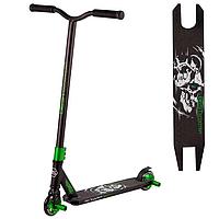 Трюковый самокат для трюков Best Scooter алюминиевый с алюминиевыми дисками Черно-зеленый
