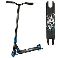 Трюковый самокат для трюков Best Scooter алюминиевый с алюминиевыми дисками Черно-синий