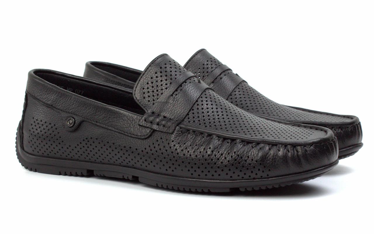Літні чоловічі мокасини чорні шкіряні перфоровані взуття ETHEREAL Floto BlackPerf by Rosso Avangard