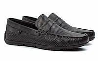 Літні чоловічі мокасини чорні шкіряні перфоровані взуття ETHEREAL Floto BlackPerf by Rosso Avangard, фото 1
