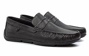 Летние мужские мокасины черные кожаные перфорированные обувь ETHEREAL Floto BlackPerf by Rosso Avangard