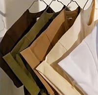 Хлопковая футболка XL базовая однотонная классическая спортивная оверсайс мужская женская разные цвет хаки