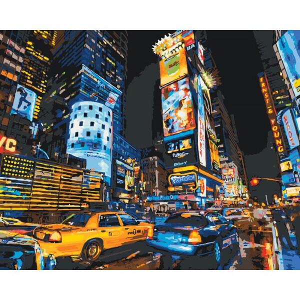 Картина по номерам Идейка Ночной Нью-Йорк Раскраска Роспись 40 х 50 см Городской пейзаж (57377)