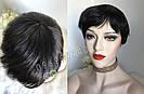 💎Натуральный парик женский. Короткая стрижка. Чёрный из натуральных волос, фото 3