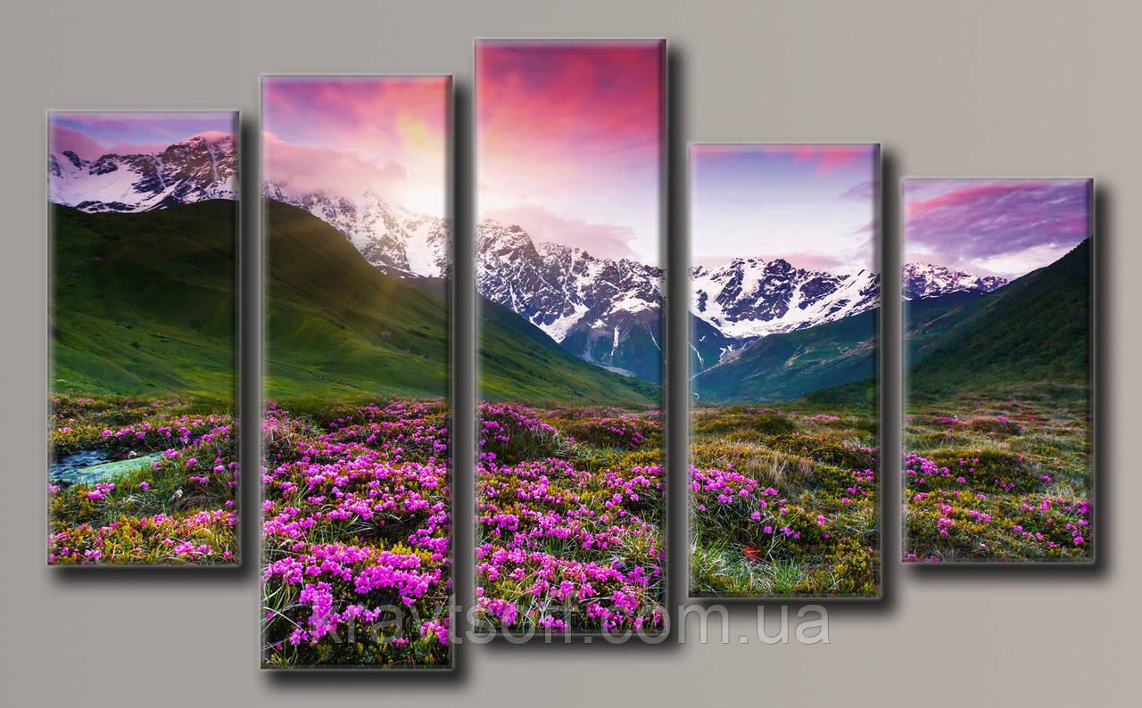 """Модульна картина на полотні з 5 частин """"Пейзаж"""" ( 90х149.5 см )"""