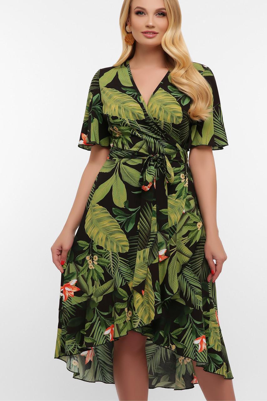 Літнє плаття на запах зелене Алес-1Б к/р