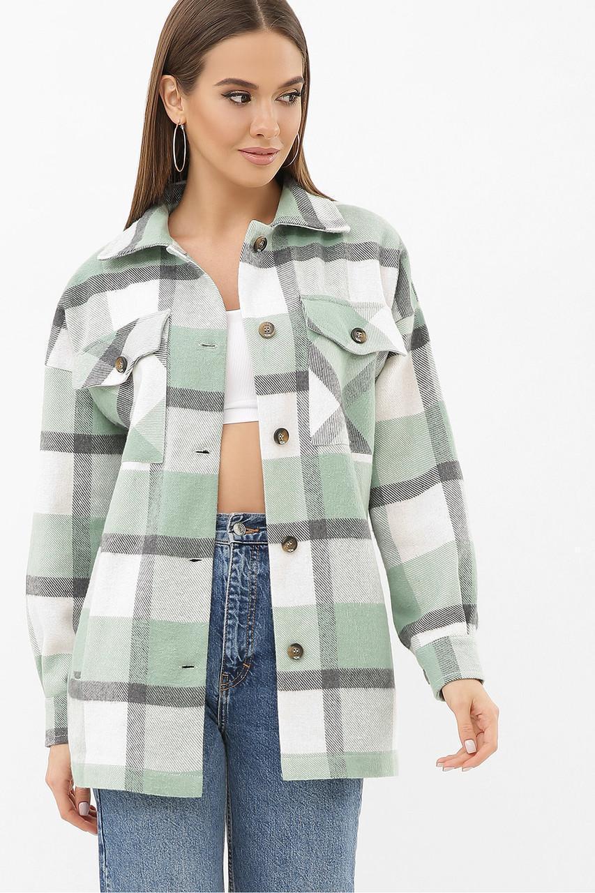 Женская кашемировая рубашка в клетку зеленая Роуз д/р