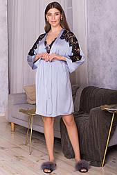 Женский шелковый  халат с кружевом  Хадия д/р