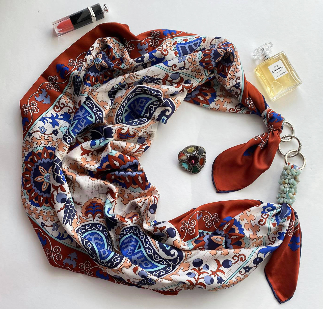 """Большой шелковый платок """"бирюзовые грезы"""" от my scarf, подарок женщине. премиум коллекция!"""