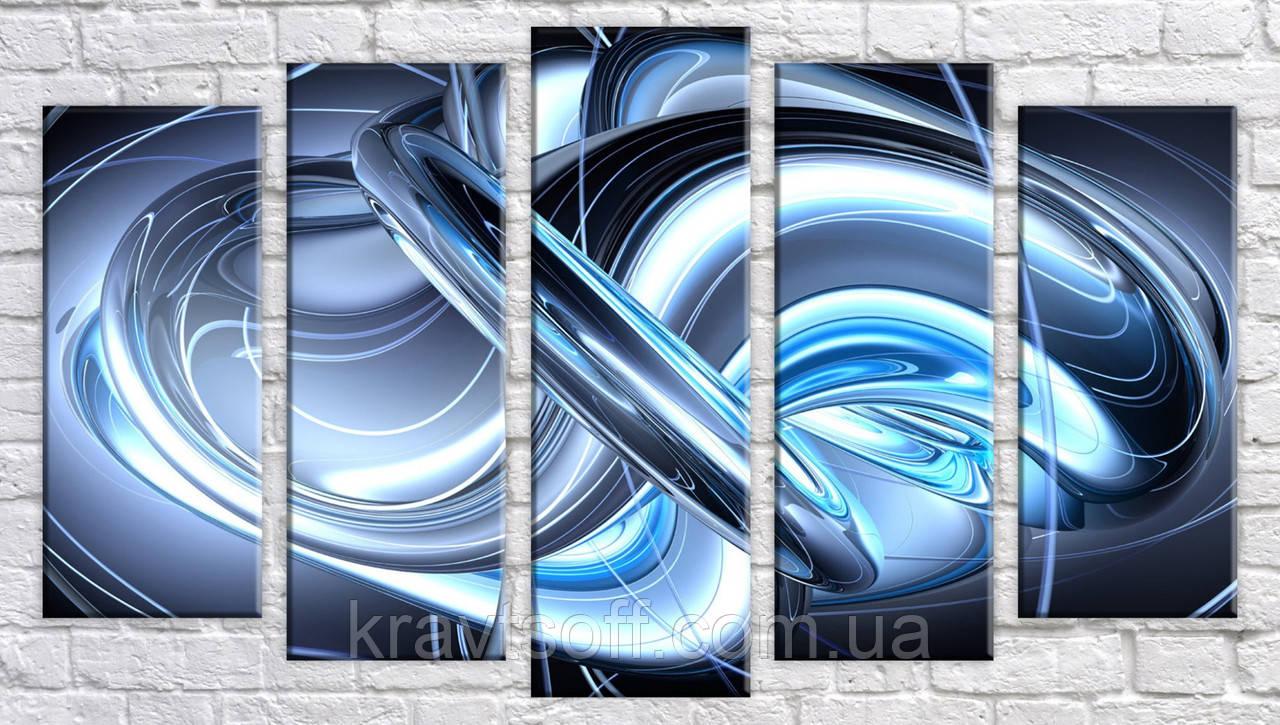 """Модульна картина на полотні з 5-ти частин """"Абстракція"""" ( 55х98 см )"""
