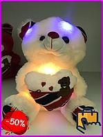 Мягкая игрушка светящийся мишка Тедди, медведь игрушечный, подарок для девушки, оригинальный подарок